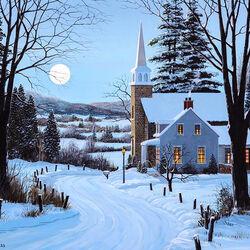 Пазл онлайн: Декабрьская луна