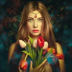 Пазл онлайн: Девушка с тюльпанами