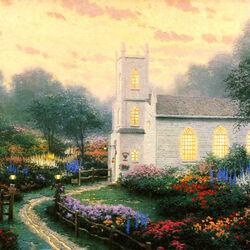 Пазл онлайн: Церковь на цветущем холме