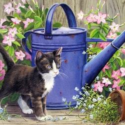 Пазл онлайн: Кот в саду