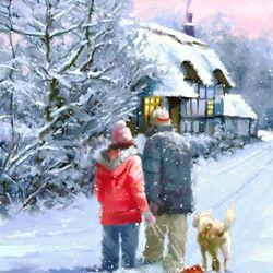 Пазл онлайн: Прогулка в зимний вечер