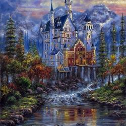 Пазл онлайн: Осенний замок Нойшванштайн