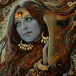 Пазл онлайн: Кельтская богиня Эпона
