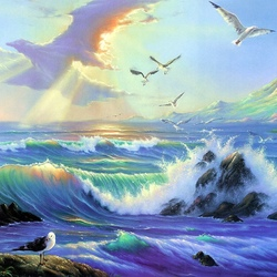 Пазл онлайн: Рассветные чайки