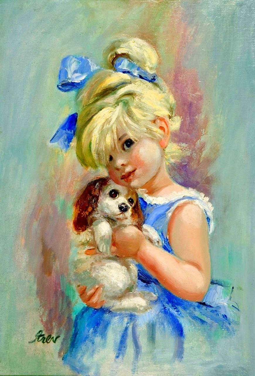 Днем, картинки девушка с собачкой рисованные