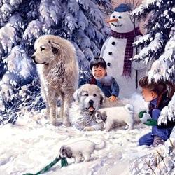 Пазл онлайн: Снеговик среди елей