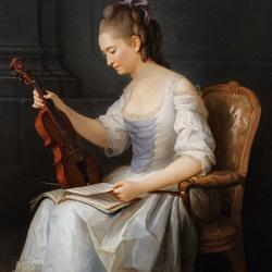 Пазл онлайн: Девушка со скрипкой