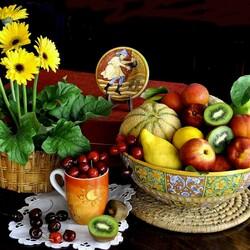 Пазл онлайн: Натюрморт с фруктами
