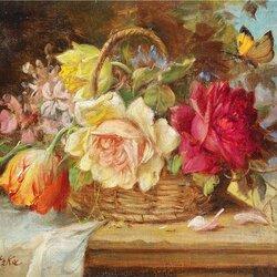 Пазл онлайн: Корзинка с цветами и бабочка