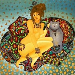 Пазл онлайн: Женщина с котом