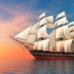Пазл онлайн: Парусное судно