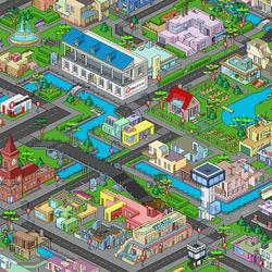 Пазл онлайн: Пиксельный город