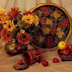 Пазл онлайн: Цветы, фрукты и хохлома