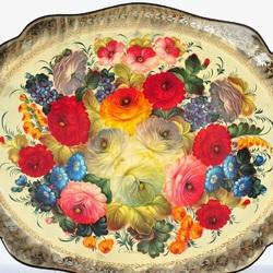 Пазл онлайн: Поднос цветочный