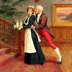 Пазл онлайн: Джентльмен и горничная