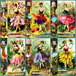 Пазл онлайн: Девушки- цветы