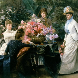 Пазл онлайн: Ваза с розами