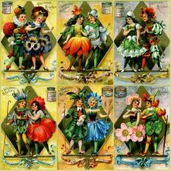 Пазл онлайн: Дети-цветы