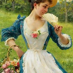 Пазл онлайн: Девушка с корзиной роз