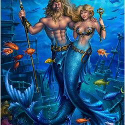 Пазл онлайн: Король Нептун и его королева
