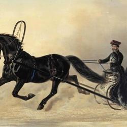 Пазл онлайн: Император Николай I на зимней прогулке