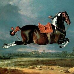 Пазл онлайн: Лошадь, исполняющая каприоль
