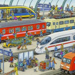 Пазл онлайн: Суета на станции