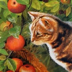 Пазл онлайн: Кот и яблоки