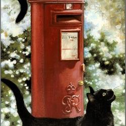 Пазл онлайн: Два чёрных кота