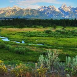 Пазл онлайн: Горы и луга
