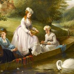 Пазл онлайн: Кормление лебедей