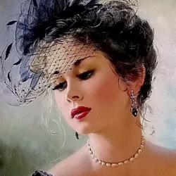 Пазл онлайн: О, эта женщина в дымке вуали