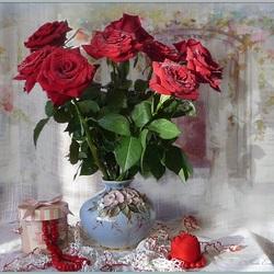 Пазл онлайн: Бархатно-красные розы
