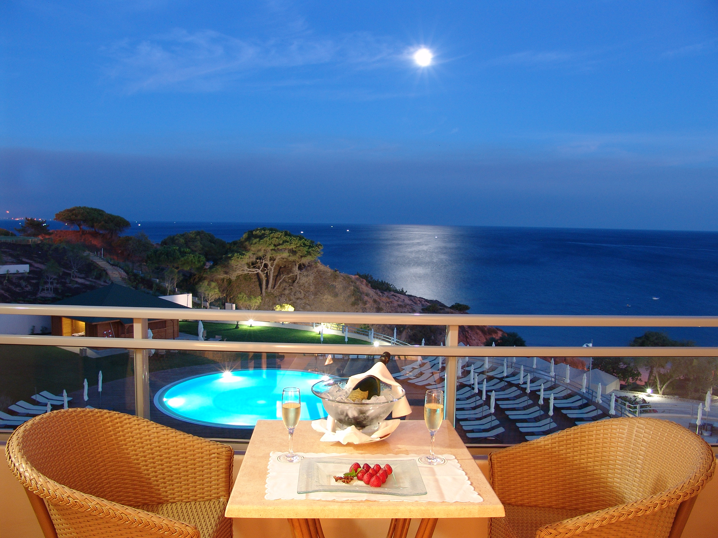Горизонт, вечер, море, вид, терраса, отель, балкон картинки .