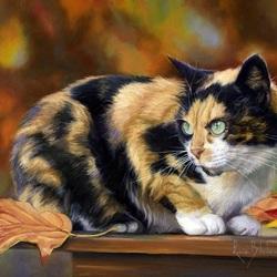 Пазл онлайн: Осенний кот