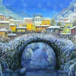 Пазл онлайн: Деревня под снегом