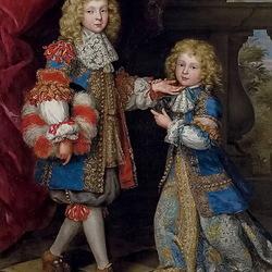 Пазл онлайн: Портрет двух детей