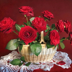 Пазл онлайн: Корзина с розами