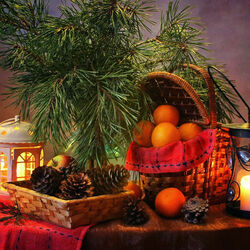 Пазл онлайн: Натюрморт с мандаринами