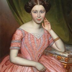 Пазл онлайн: Женщина в розовом платье
