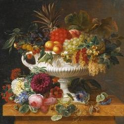 Пазл онлайн: Классическая урна с фруктами и цветами