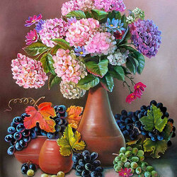 Пазл онлайн: Виноград и гортензии