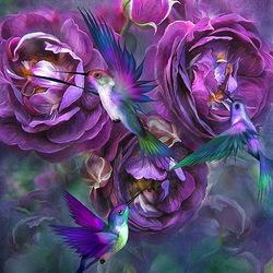 Пазл онлайн: Розы и птицы