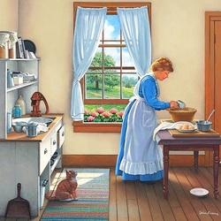 Пазл онлайн: Хозяйка на кухне