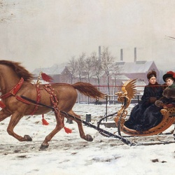 Пазл онлайн: Зимняя прогулка