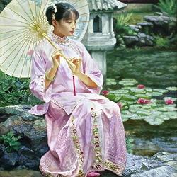 Пазл онлайн: Девушка в розовом с зонтиком