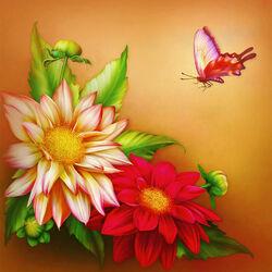 Пазл онлайн: Цветы и бабочка