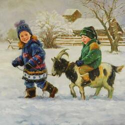 Пазл онлайн: По первому снегу на козе