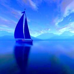 Пазл онлайн: Утро синее