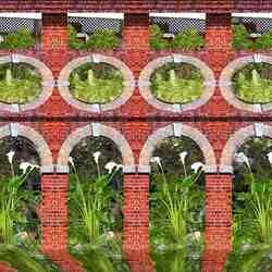 Пазл онлайн: Цветы в арках